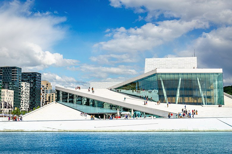 Oslo Opera House with Barcode development in the background.