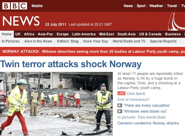 BBC reporting of the Oslo bombings