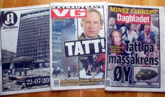 Norwegian newspaper headlines about the Oslo terror attacks