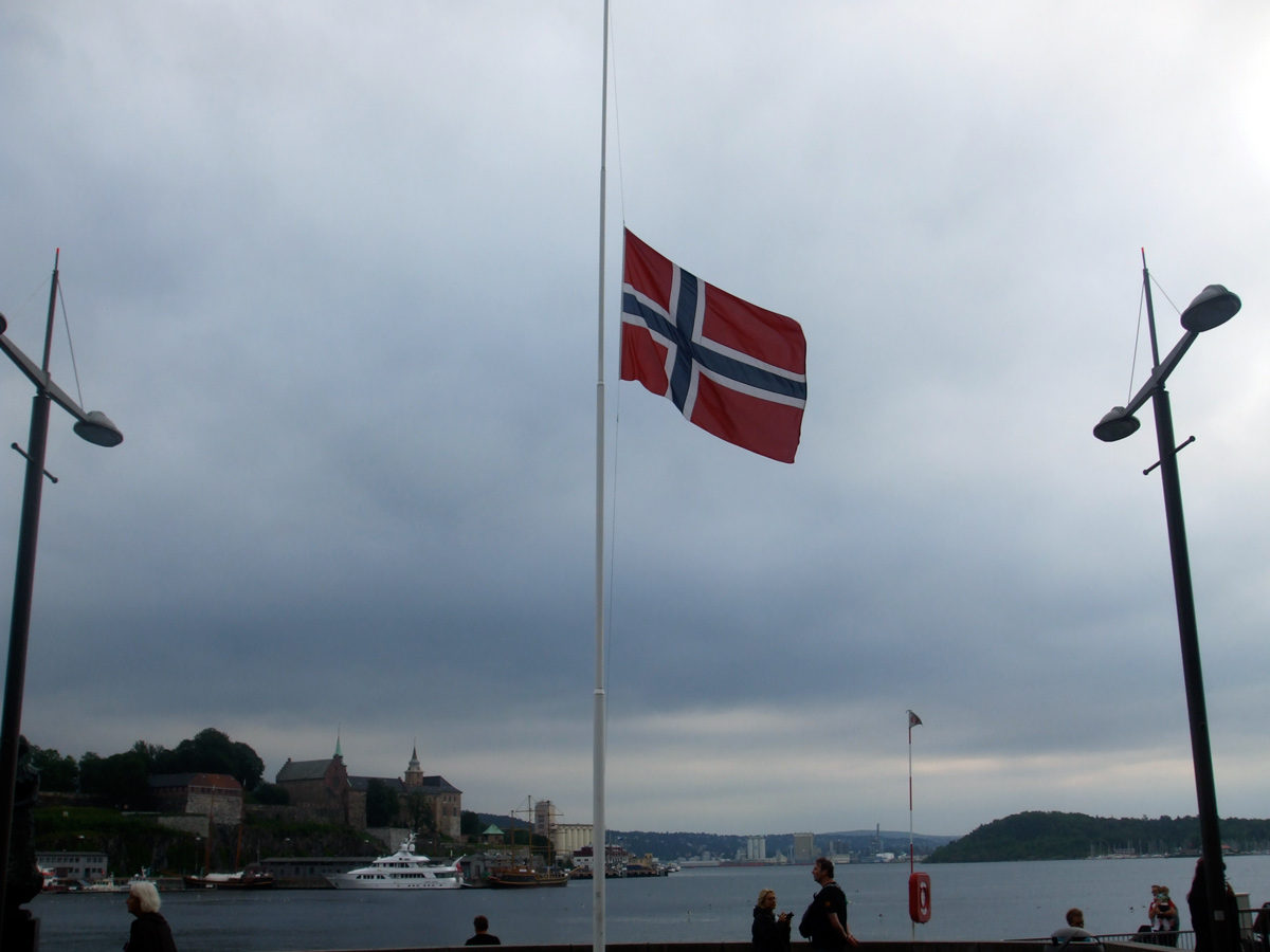 Norwegian flags at Aker Brygge were flying at half-mast