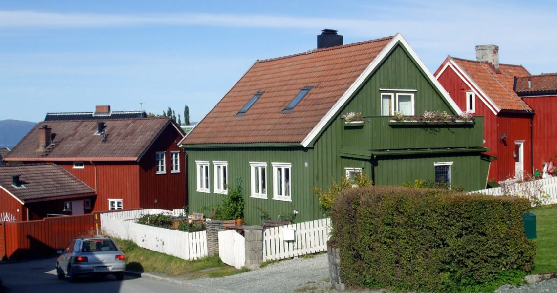 A green wooden house in Trondheim, Norway
