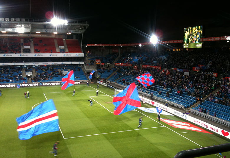 Vålerenga flags on the pitch at the Ullevaal Stadion, Oslo