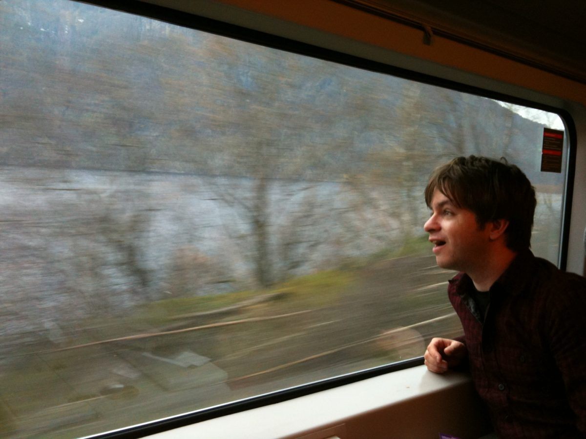 Chris getting excited on the Oslo to Bergen train
