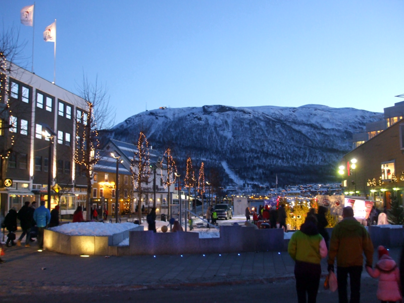 A square in Tromsø city in December