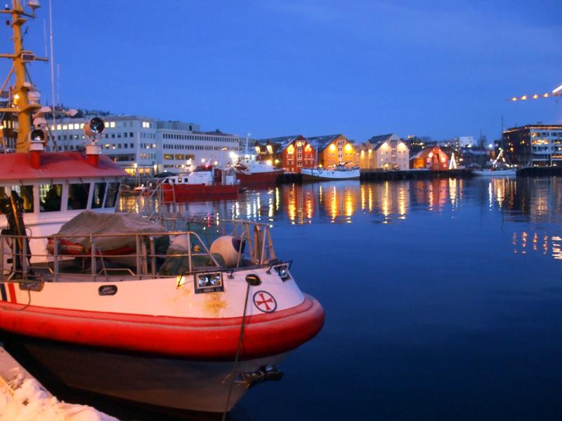 Tromsø Harbour in the deep blue December light
