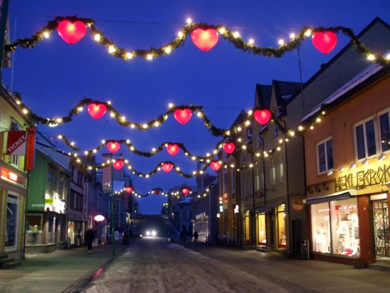 Christmas decorations in Norway: Storgata, Tromsø in the December daytime