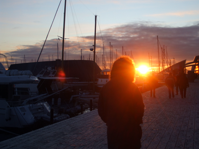 Low sun on Aker Brygge in December, Oslo