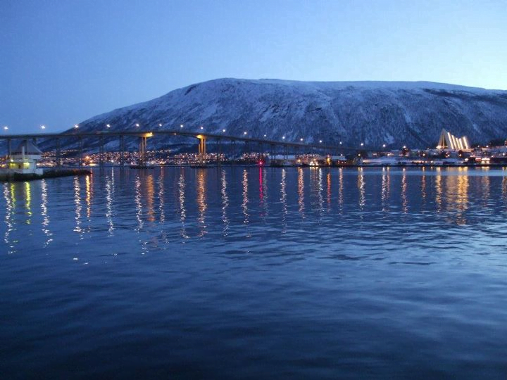 View of Ishavskatedralen from Tromsø city centre