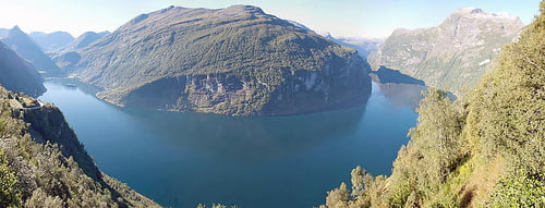 Awesome panorama of Geirangerfjorden, Norway