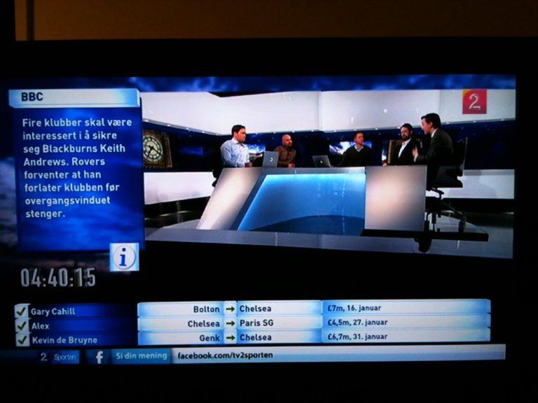 TV2 Zebra studio English Football