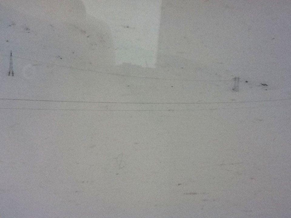 Near-whiteout outside the train window!