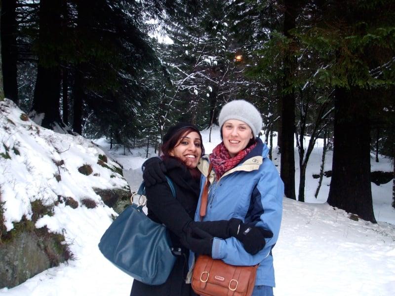 Simarjeet & Nicola in the snowy Bergen hills