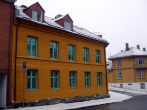 Colourful yellow and green building