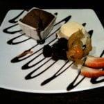 Chocolate fondant and vanilla ice cream