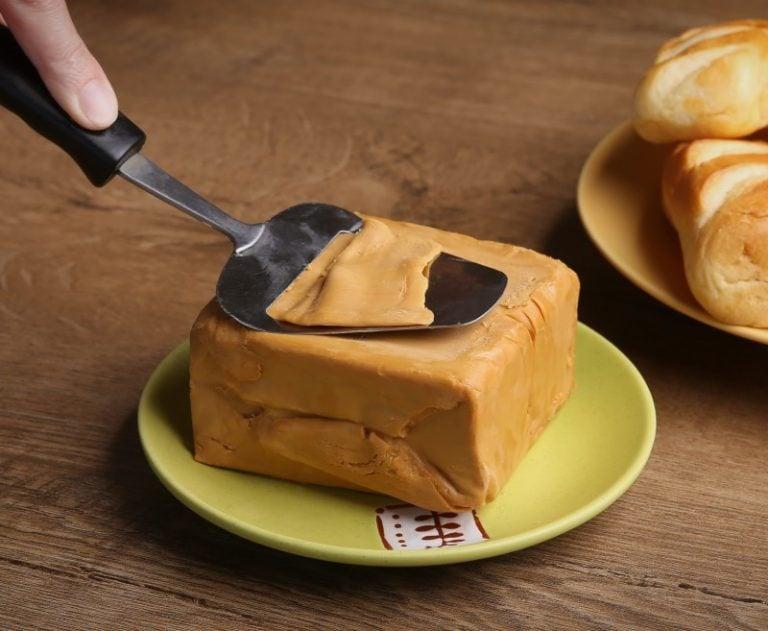 A block of Norwegian brown cheese