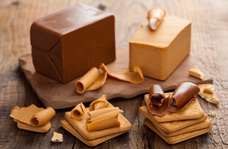 Blocks of brunost, Norwegian brown cheese