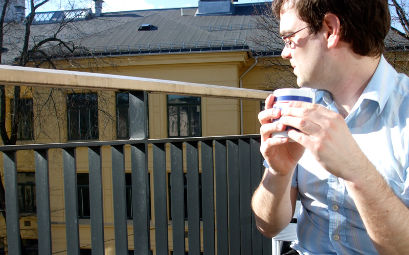 Me on my balcony, enjoying the spring sunshine