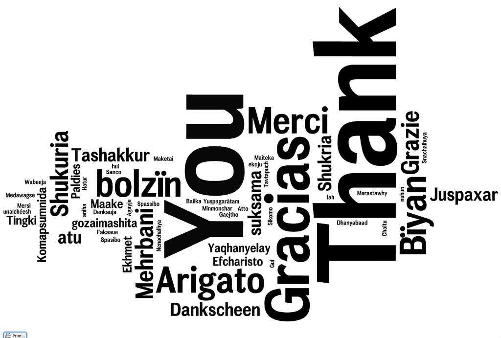 A multilingual thank you