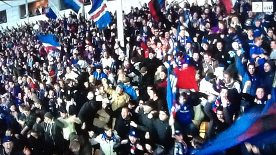 VIF fans celebrate the opening goal against LSK