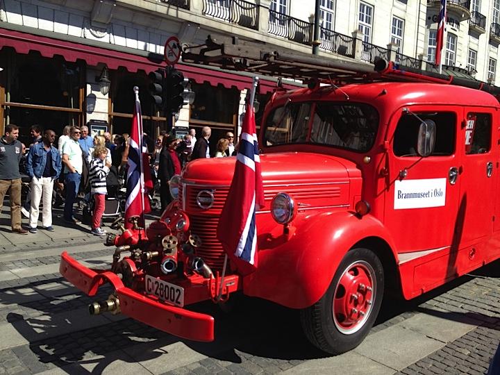 Retro red fire truck in Oslo