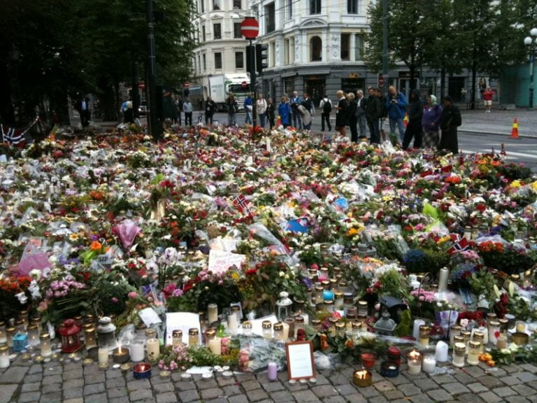 Flowers commemorating the Oslo and Utøya attacks
