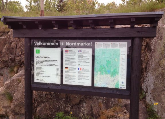 Nordmarka information sign at Frognerseteren T-Bane Station