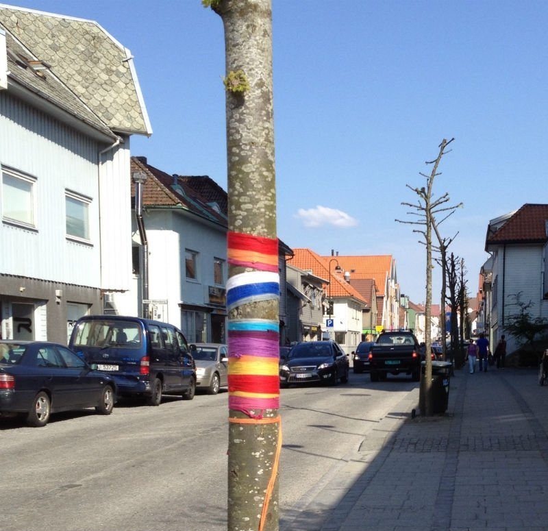 Tree trunk with ribbons