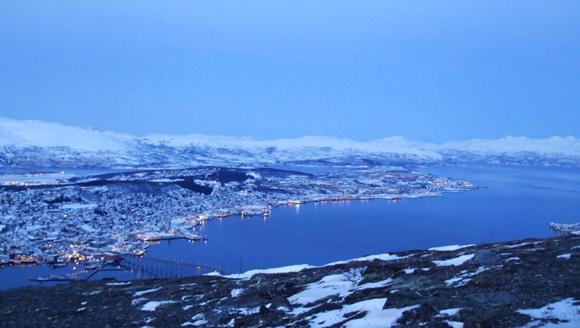 View across Tromsø in the December daylight