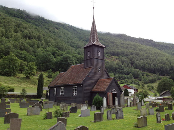 Flåm Churchyard in rural Norway