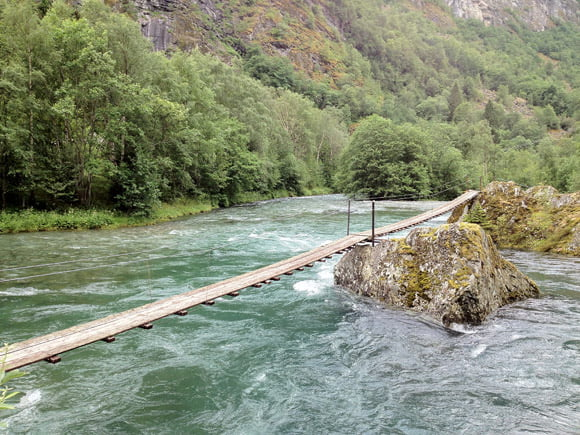 A river bridge near Flåm in Norway