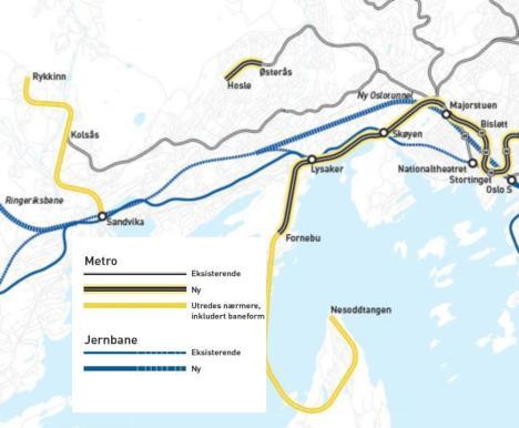 Map of Fornebubanen proposals