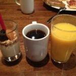 Yoghurt, coffee, orange juice