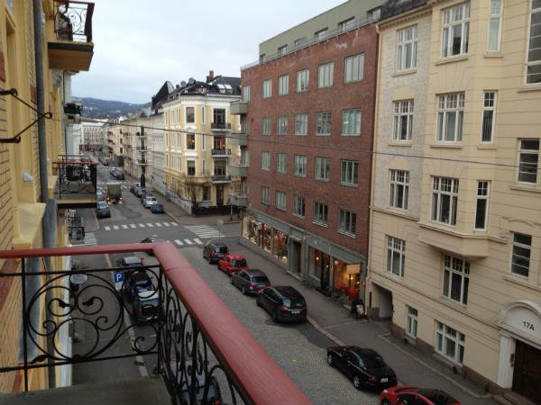 View from the balcony along Gimleveien