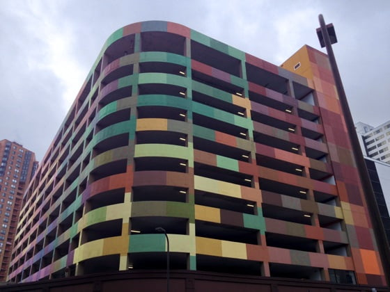Colourful car park