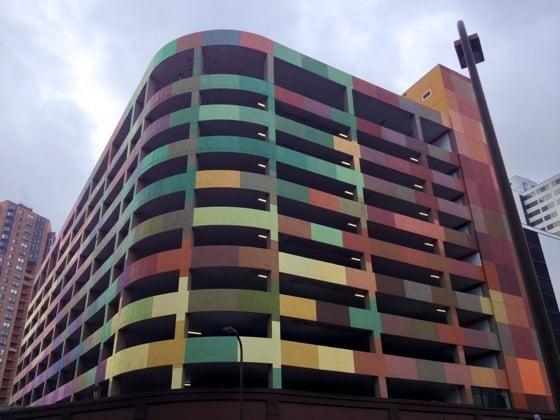 Colourful car park