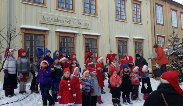 Schoolchildren at Christmas