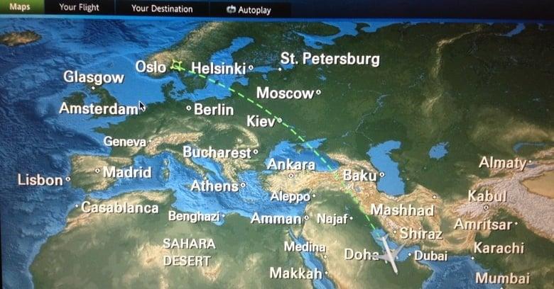 Flight map Qatar Airways
