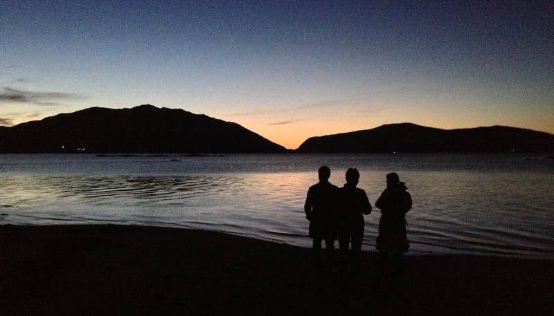 Waiting for the northern lights on a beach