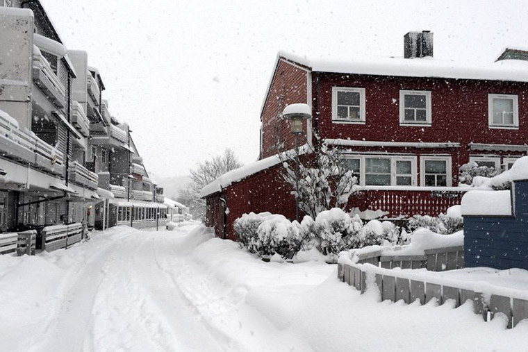 A Trondheim suburb in the winter