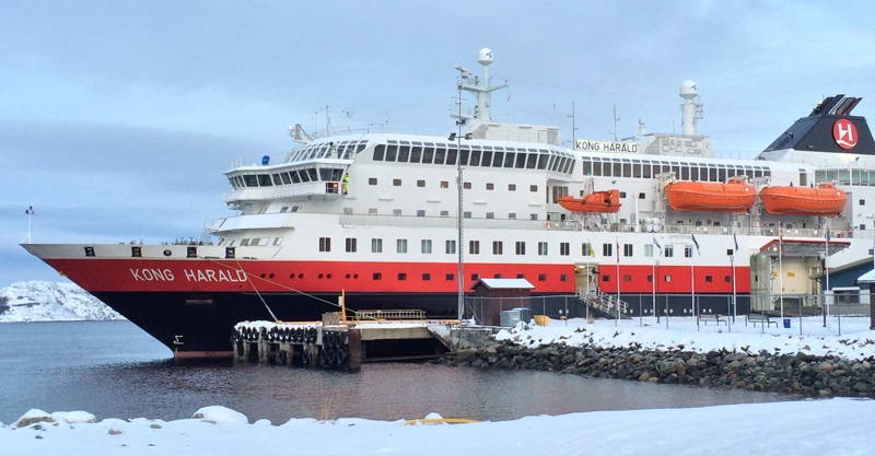 A Hurtigruten ship at the northern terminus in Kirkenes, Norway
