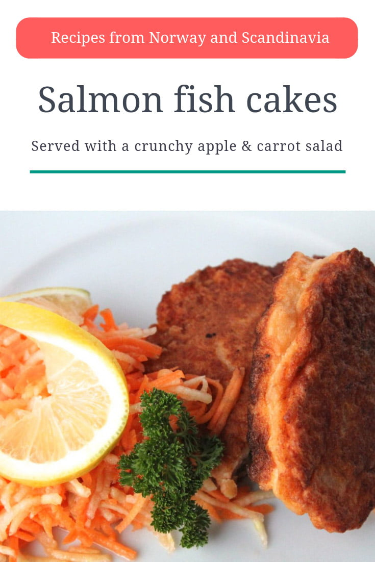 Scandinavian Recipe: Norwegian salmon fishcakes served with a crunchy apple and carrot salad