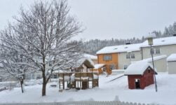 Snowy housing estate in Trondheim