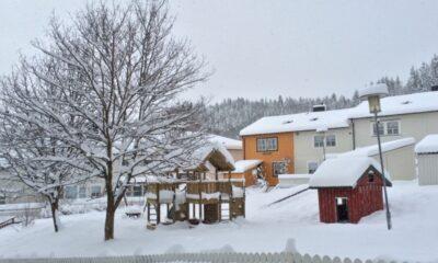 Snowy housing estate in Trondheim