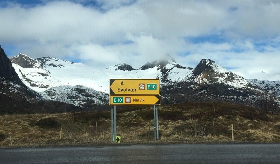 Road sign in the Lofoten Islands, Norway