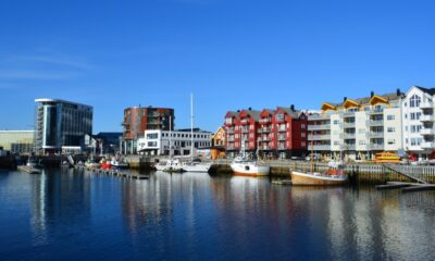 The modern waterfront of Svolvær in Lofoten, Norway