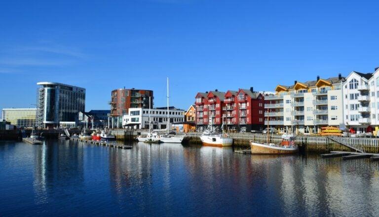 The modern waterfront of Svolvær in Lofoten, Norway