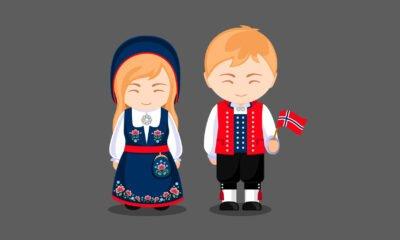 Norwegian children in stereotypical national dress