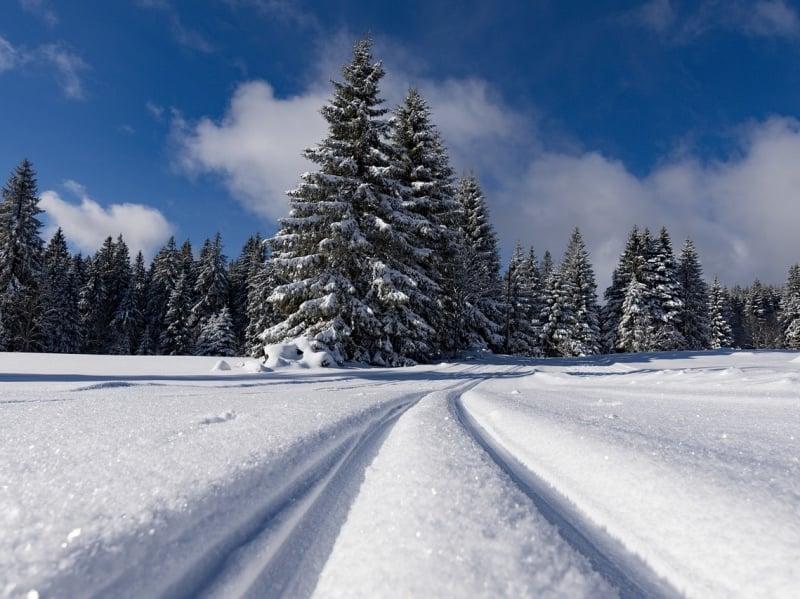 Frozen cross-country skiing tracks in Norway