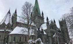 Snowy Nidaros Cathedral in Trondheim