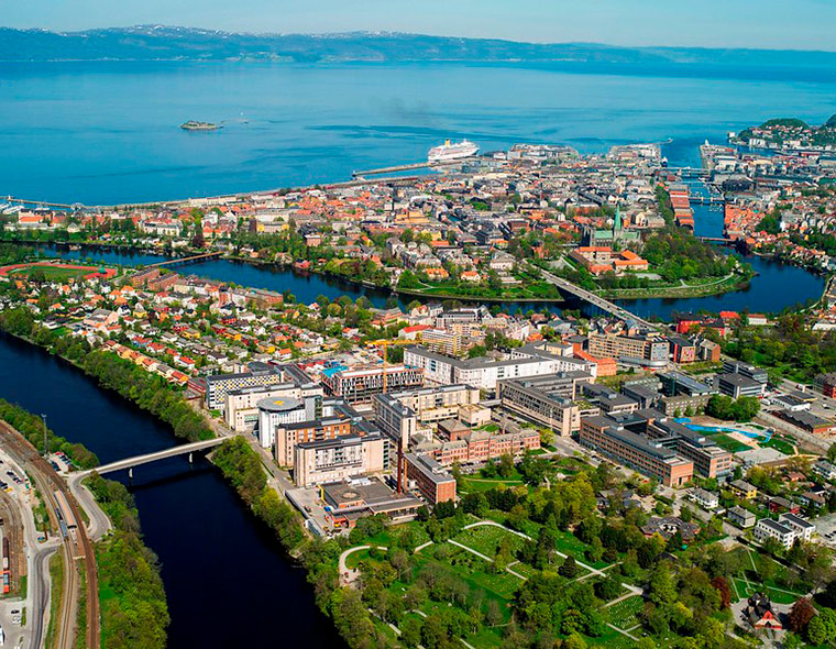 An aerial photo of St Olav's Hospital in central Trondheim, Norway